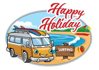 cartoon of vintage van at the beach