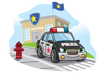 cartoon police car in front of police office