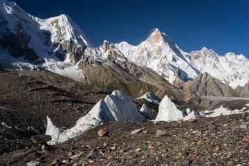Masherbrum mountain peak at Goro II camp in a morning, K2 trek, Pakistan