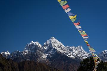 Kangtega and Thamserku behind prayer flag, Everest region, Nepal