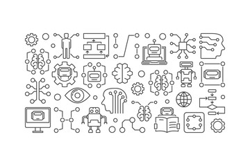Cyberbrain and artificial intelligence vector banner
