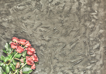 Concept: Valentine's Day, congratulation, greeting card, love. Beautiful roses on a black stone background