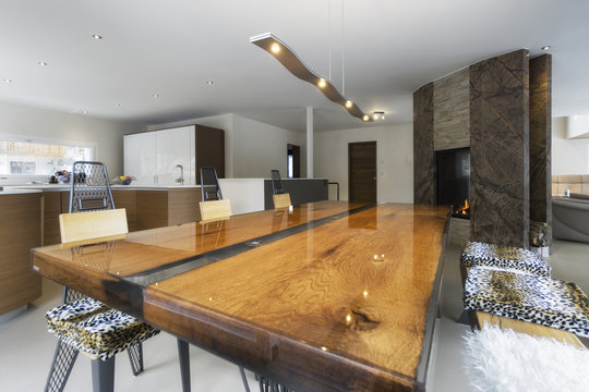 large kitchen and antique wood table in modern style