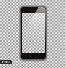 New High Detailed Realistic Smartphone similar to i Phone Isolated on Transparent Background. Display Front View. Device Mockup Separate Groups and Layers. Easily Editable Vector. EPS 10.