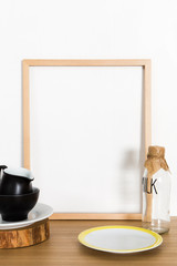 white frame on the table