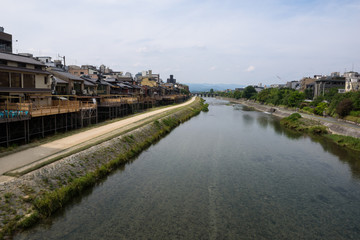Cozy area around Kamo river with on the left Pontocho alley, Kyoto, Japan