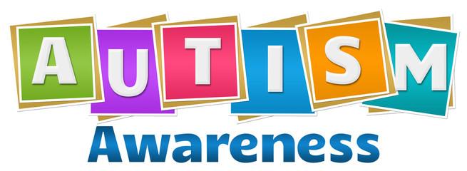 Autism Awareness Colorful Blocks Text