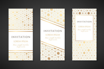 Gold hexagons. Invitation templates. Cover design with ornaments.