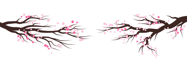 Spring blossom trees. Vector decoration elements.