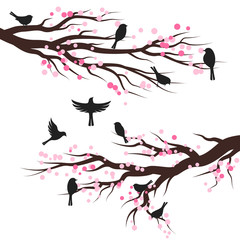 Spring blossom trees with birds. Vector decoration elements.
