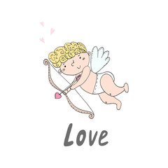 Hand drawn cupid with bow and arrow. Doodle cute cupid. Vector illustration.