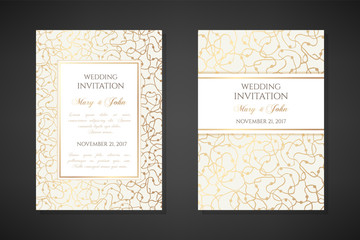 Gold scribbles. Wedding invitation templates.