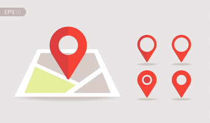 New Flat design location map with red pin, label, marker, sign. Modern Vector EPS 10. Wall mural