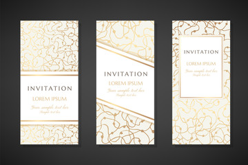 Gold scribbles. Invitation templates. Cover design with ornaments.