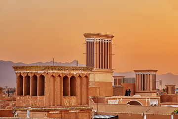 Tower Badgir used for natural ventilation of buildings, Yazd, Iran.
