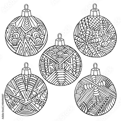 Christmas Tree Balls Zentangle New Year Ornament Black White