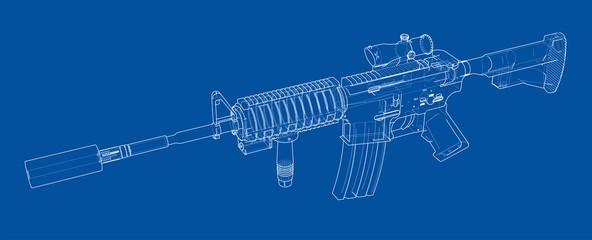 Machine Gun. Vector rendering of 3d