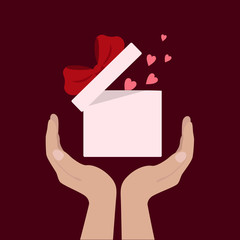 Hearts. Hands hold gift box. Vector flat icon. Beautiful design template. Happy Valentine's Day. Space for text.
