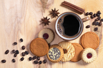Coffee and different cookies