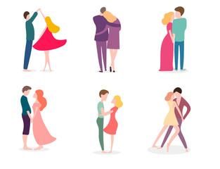 Romantic lovers, flat isolated characters, lovers dancing, walking, hugging, vector illustrations