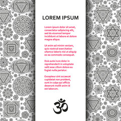 Flat poster or banner template with ornamental chakras. Vector illustration.