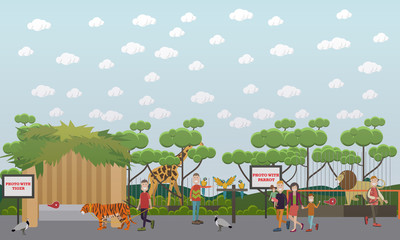 Zoo animals vector flat illustration