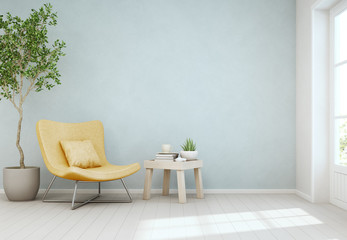 Wall Mural - Indoor plant and coffee table on wooden floor with empty blue concrete wall background, Yellow chair near door in bright living room of modern scandinavian house - Home interior 3d illustration