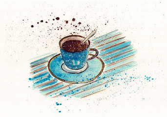 Watercolor drawing of a blue cup of coffee with a spoon on a striped background. Watercolor sketch.