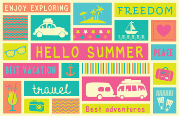 Hello summer poster. Lovely summer card with icons, patterns and text. Vector illustration.