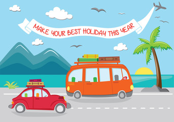 Colorful summer poster. Hippie and car on the road, traveling to seaside. Vector illustration.
