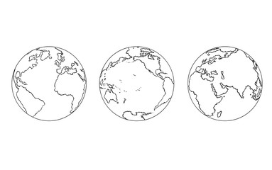 Cartoon of Three Views of Planet Earth Globe