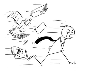 Conceptual Cartoon of Businessman Running Away Chased by Work