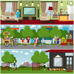 People and relations concept vector flat poster or banner set