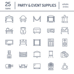 Event supplies flat line icons. Party equipment - stage constructions, visual projector, stanchion, flipchart, marquee. Thin linear signs for catering, commercial rental service.