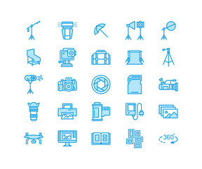 Photography equipment flat line icons. Digital camera, photos, lighting, video photo accessories, memory card, tripod lens film. Pixel perfect 64x64.