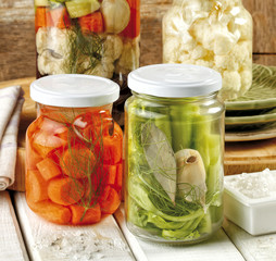 Jars with pickles and preserves