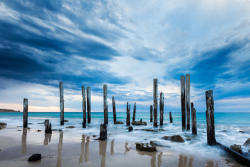 The Port Willunga jetty ruins on an overcast day Wall mural
