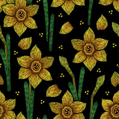 Embroidery seamless floral pattern with narcissus