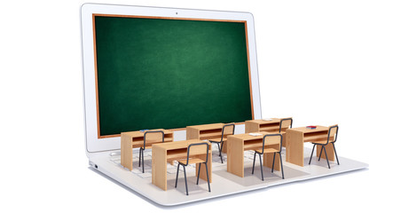 Digital classroom isolated on white 3D Rendering