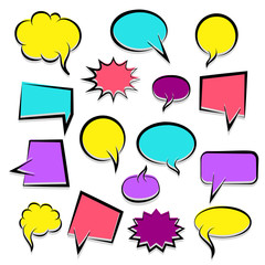 Colorful dialog empty cloud, space text pop-art. Colored idea conversation comics book sketch explosion. Set hand drawn blank template comic speech bubbles halftone dot background style pop art.