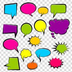 Comic speech bubbles halftone dot background style pop art. Colorful dialog empty cloud, space text pop-art. Colored idea conversation comics book sketch explosion. Set hand drawn blank template.