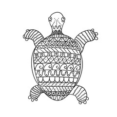 Stylized turtle isolated on white background. Freehand ornamental turtle for children coloring book.