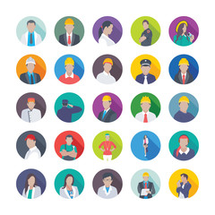Collection of Professional Flat Icons of Professions