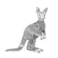 Stylized kangaroo isolated on white background. Freehand ornamental kangaroo for children coloring book.