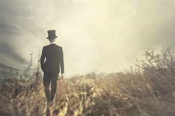 traveling man walks solitary in wild nature
