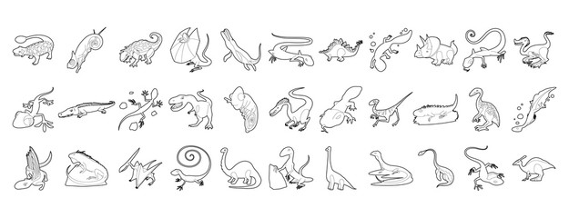Reptile icon set, outline style