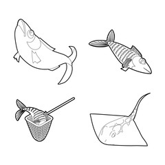 Fish icon set, outline style