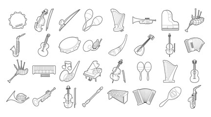 Musical instrument icon set, outline style