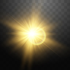Transparent light effect, Lens flares with streaking distortion Shining. Vector illustration
