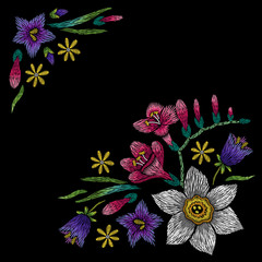Embroidery corner floral pattern with bellflower, freesia and narcissus